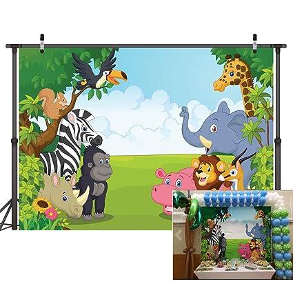 LYWYGG 7x5FT Antecedentes del zoológico Fotografía Safari de Dibujos Animados Fondo de Animales Feliz Cumpleaños Fotografía Antecedentes Fauna Jungla ...