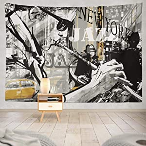 Tyfuty Jazz-Music Wall Tapestry, 80 x 60 inch Jazz Trumpet Player Street New York Music Poster for Home Decorations Bedroom Dorm LivingRoom Wall Decor
