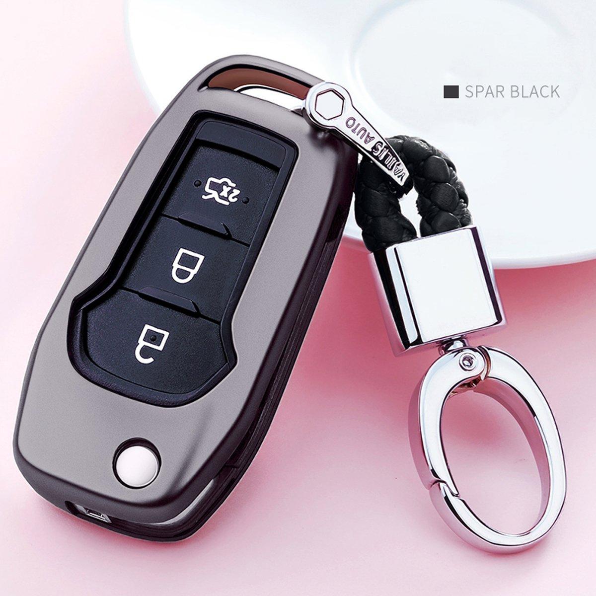 カイゼンキーレスエントリーリモートキーFobカバーソフトTPUケースwithダイヤモンドタッセルキーチェーンfor Ford MustangモンデオGalaxy Edgeレンジャー3-buttonsスマートキー Flip key cover+braided cord keychain ブラック TPUKC323 B07CNK2CWW Flip key cover+braided cord keychain|ブラック ブラック Flip key cover+braided cord keychain