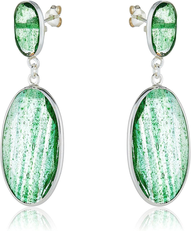 Córdoba Jewels | Pendientes en plata de Ley 925 con piedra semipreciosa. Diseño Belle Esmeralda Diamantada