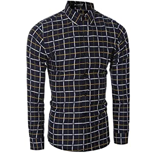 Dayseventh 2016 Men's Casual Short Sleeve Slim Fit Solid Button Down Shirt (L, Yellow)