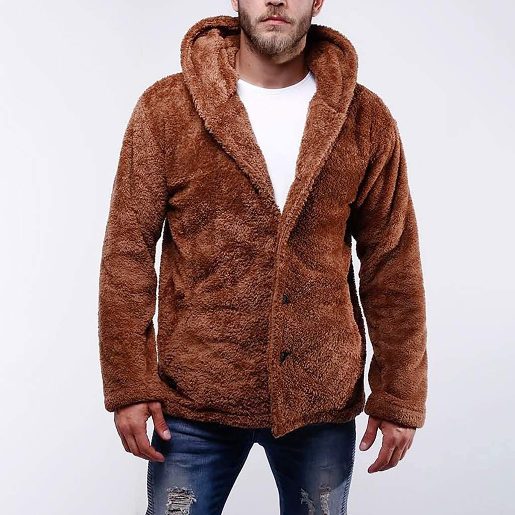 KPILP Herren Fuzzy Hoodie Teddy-Fleece Jacke Warm Pl/üschjacke Mantel Kapuzenpollover Sweatshirt Winter Herbst Verdicken Parka Lose Jacke Outwear