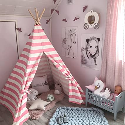 reputable site 2ef81 9869d Tiny Land Kids Teepee Tent for Girls Princess, 5' Canvas Childrens Play  Tent for Indoor Outdoor with Carry Case , Pink & White Stripe