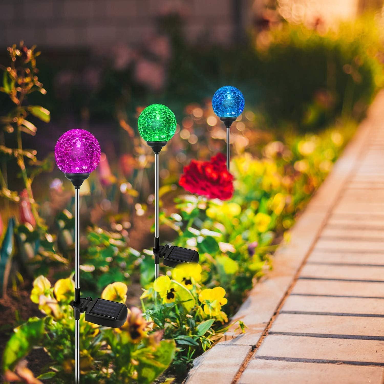 Halloween Christmas Garden Decor Solar Garden Lights,OxyLED 6 Pack Crystal Glass LED Light Solar Stake Light Color-Changing Outdoor Landscape Garden Light Decoration