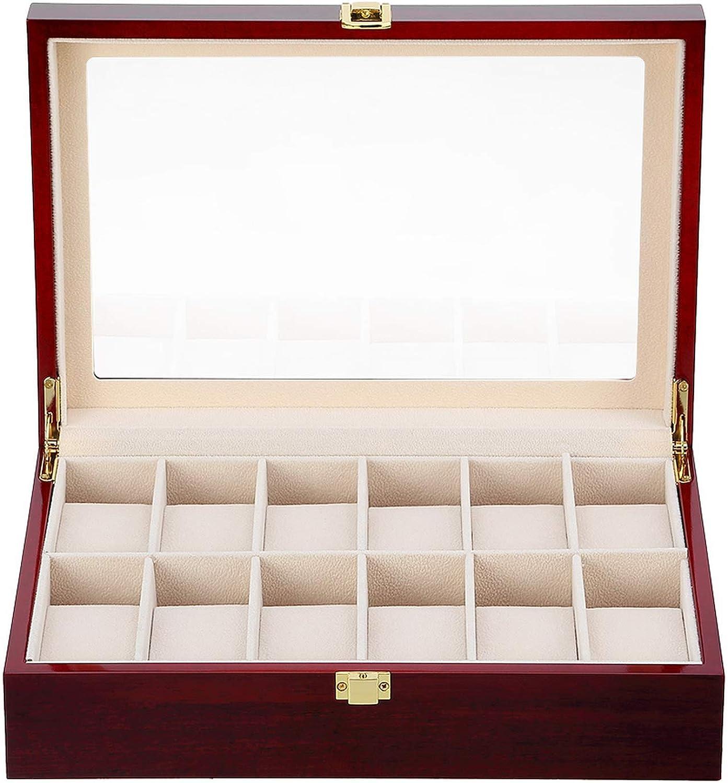Caja de almacenamiento para relojes de madera, colección de joyas, organizador