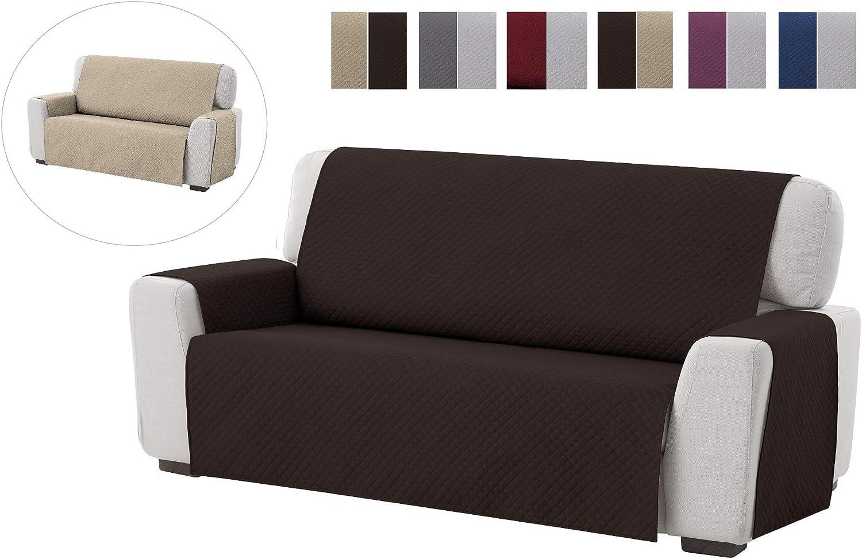 textil-home Funda Cubre Sofá Adele, 3 Plazas, Protector para Sofás Acolchado Reversible. Color Marrón