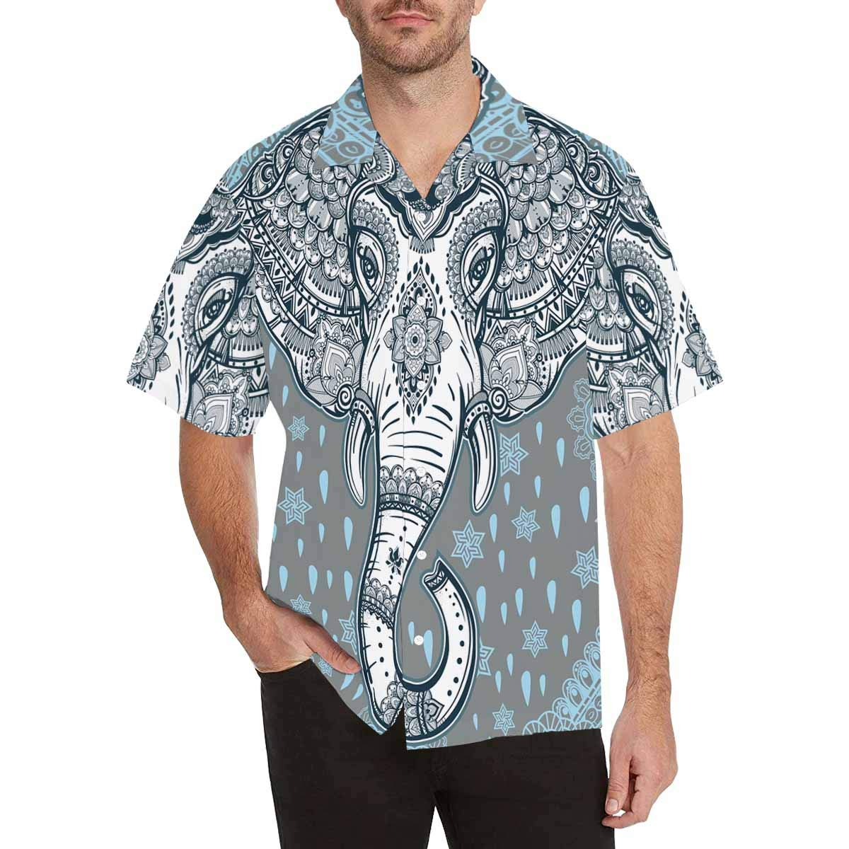InterestPrint Men Button Up Blue Unicorn in The Night Short Sleeve Print Button Up Shirts