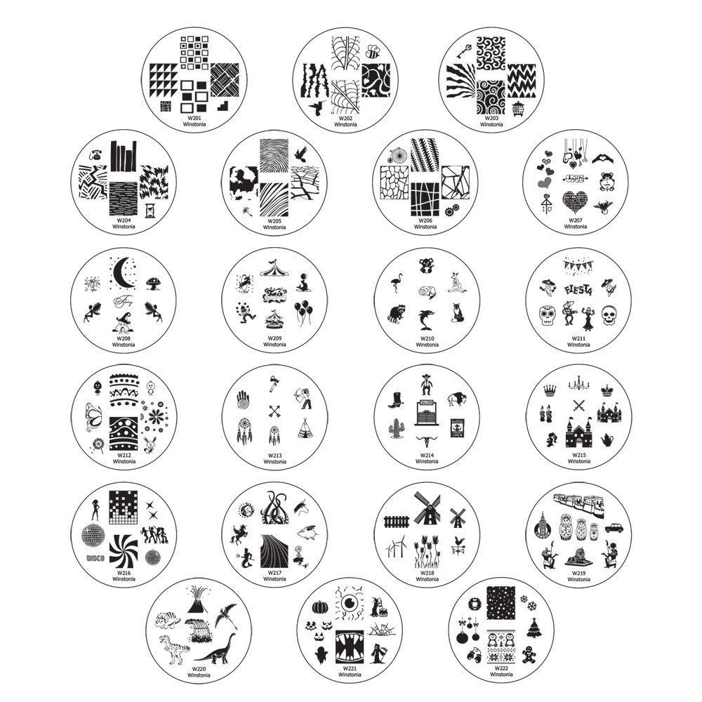 Winstonia Second Generation Nail Art Stamping Image Plates Set - 22 Pieces w/ 160 Images