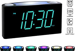 "Rocam Digital Alarm Clock for Bedrooms - Large 6.5"" LED Display with Dimmer, Snooze, 7 Color Night Light, Easy to Set, USB Chargers, Battery Backup, 12/24 Hour for Kids, Heavy Sleepers, Elderly (Blue)"
