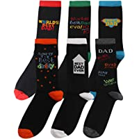 Pack of 6 Mens BEST DAD Designer Cotton Rich Socks Shoe Size 6-11