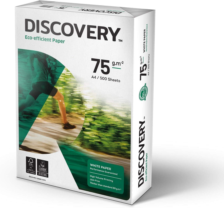 Discovery - Pack de 5 resmas de papel A4, color blanco (5 x 500 folios): Amazon.es: Oficina y papelería