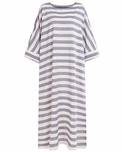 7c948f8f6f BONESUN Women Plus Size Striped Batwing Linen Cotton Loose Kaftan Casual  Dress Stripe S