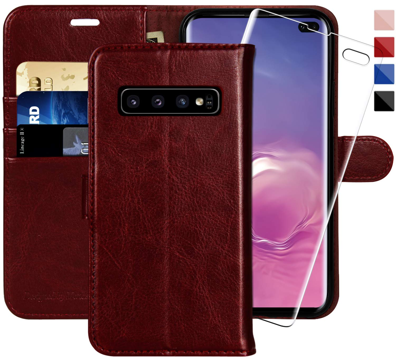Galaxy S10 Plus Wallet Case, 6.4 inch,MONASAY [Included Screen Protector] Flip Folio Leather Cell Phone Cover with Credit Card Holder for Samsung Galaxy S10 Plus by MONASAY