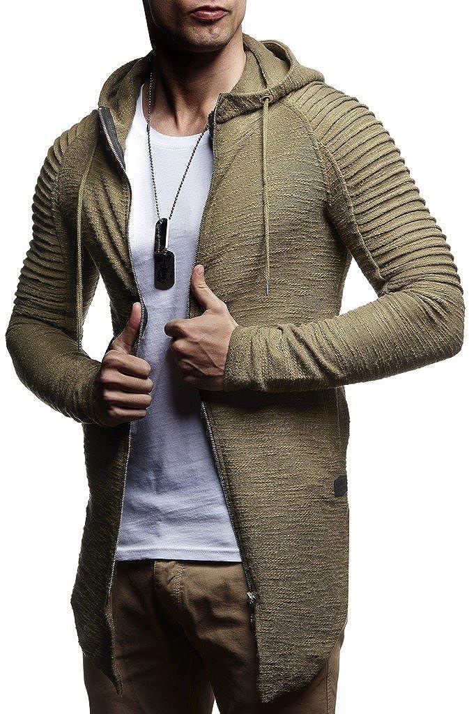 LEIF NELSON Herren Sweatjacke Pullover Kapuzenpullover Hoodie Jacke Basic gesteppter Langarm Oversize Shirt Sweater