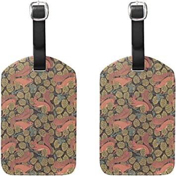 Squirrel Pattern Travel Tags For Travel Bag Suitcase Accessories 2 Pack Luggage Tags