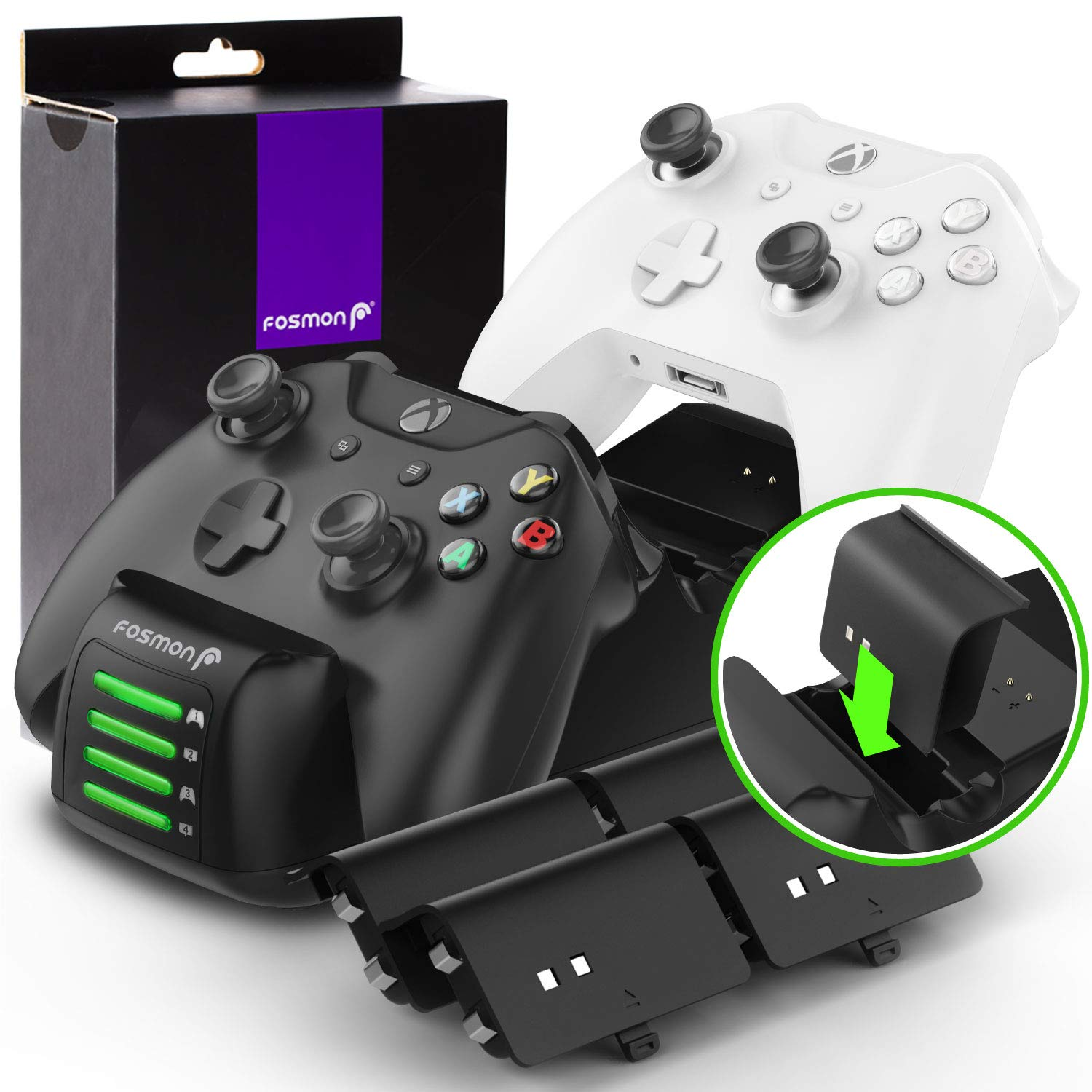 Fosmon Xbox One/One X/One S/Elite Quad PRO Controller Charger (Upgraded), [Dual Dock + 2 Additional Batteries Slot] High Speed Docking Charging Station with 4 x 1000mAh Rechargeable Battery Packs
