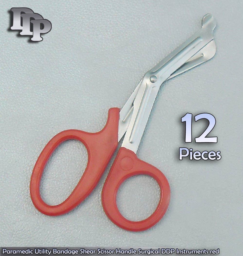 12 PCS Of Paramedic Utility Bandage Shear Scissor 7.25'' Red Handle Surgical DDP Instruments