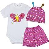 FEESHOW Newborn Baby Cartoon Summer Bodysuit Outfits Romper Shirt Shorts Caps Set