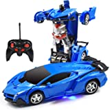 Trimnpy RC Cars Robot for Kids Remote Control Model Automobile Transformation Toys with One-Button Deformed Vehicle and 360°Rotating Drifting 1:18 Scale, Best Gift for Kids and Adults (Blue)