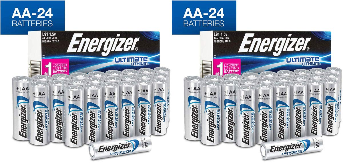 Energizer AQWSDFDG AA Lithium Batteries, Ultimate Lithium Double A Battery, 2 Pack of 24 Count