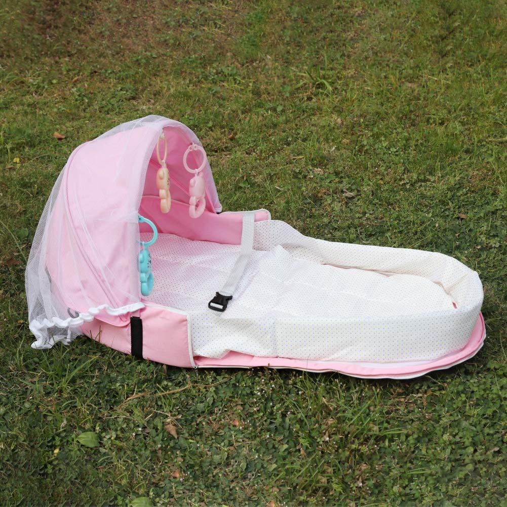 F/ür Reisen Sonnenschutz Moskitonetz Atmungsaktiv S/äugling Schlafkorb mit Spielzeug(Schicken Sie Spielzeuggeschenke) 0-1 Jahre Gyratedream Tragbare Faltbare Babybett