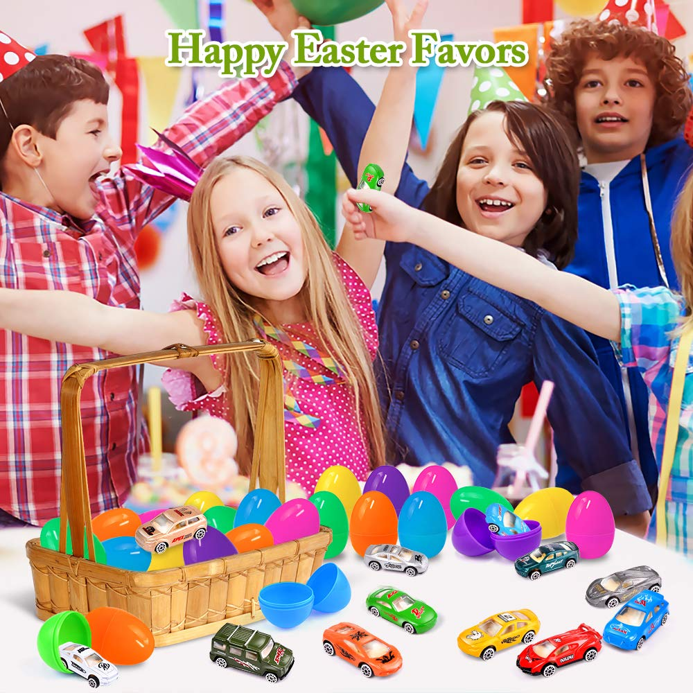 UMIKU 18 Pack Easter Cars Toys Easter Eggs Mini Die-Cast Cars Easter Basket Stuffers Easter Egg Fillers for Kids Surprise Egg Hunt Party Favors Premium Metal Car Toys Easter Gifts Class Prizes by UMIKU (Image #4)