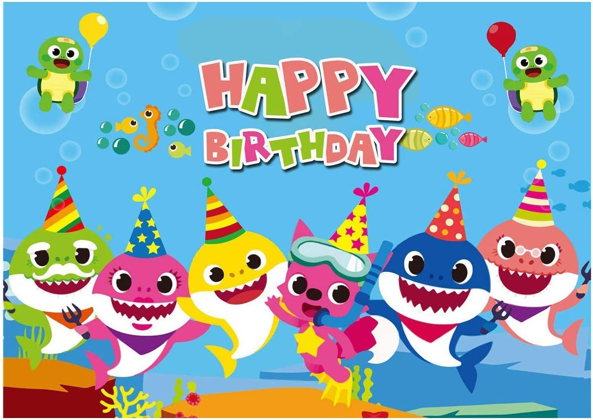 7x5ft Cartoon Baby Shark Family Photo Background for Children Happy Birthday Party Photography Backdrops of Blue Ocean Theme BV019