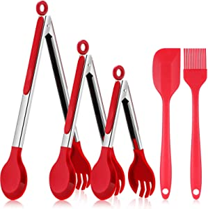 3 Pieces Kitchen Tong for Cooking Stainless Steel Handle Silicone Tong and 2 Pieces Long Handle Silicone Spatula Oil Basting Brush for Baking Bread BBQ Grilling Clamping Food, 7 Inch, 9 Inch, 12 Inch
