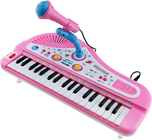 Toy Piano con micrófono, Vey 37 teclas teclado Kid órgano ...