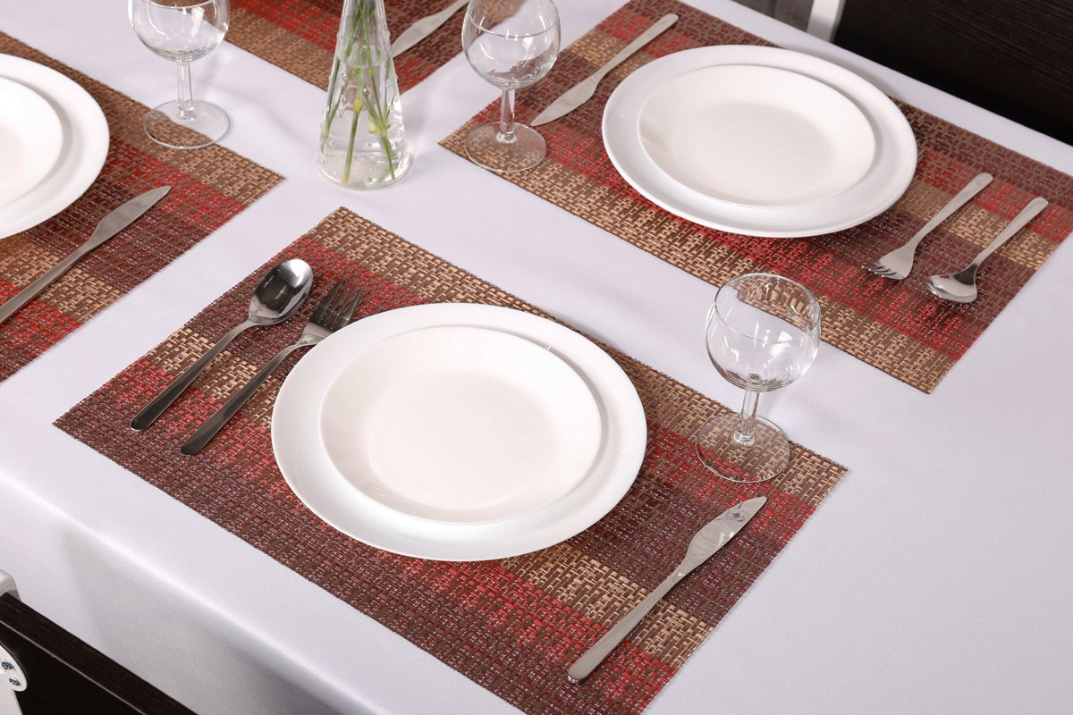 SICOHOME Placemats Set of 6,Soft Crossweave Woven Vinyl Placemat,Multi Colored(Red) by SICOHOME (Image #3)