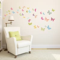 Decowall DW-1408 Patterned Butterflies Kids Wall Stickers Wall Decals Peel and Stick Removable Wall Stickers for Kids Nursery Bedroom Living Room