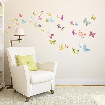 Wandtattoo babyzimmer  Decowall DW-1408 Gemusterte Schmetterlinge Tiere Wandtattoo ...