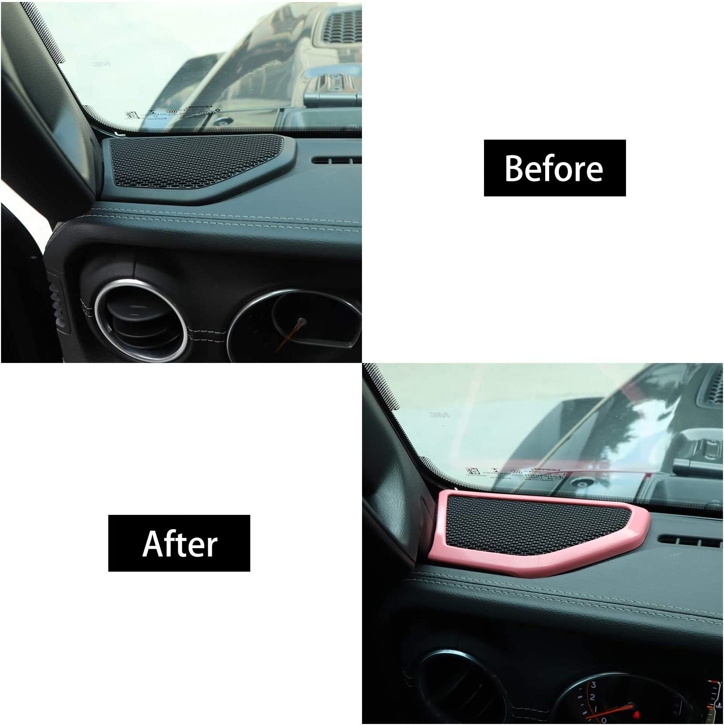 RT-TCZ Pink A/&B Pillar Speaker Decoration Cover Trim ABS Decoration Car Interior Accessories for 2018-2021 UP for Jeep Wrangler JL//JLU