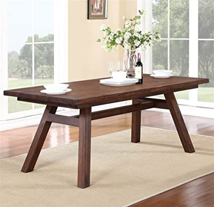 Merveilleux Modus Furniture 7Z4861R Portland Solid Wood Rectangular Extension Table,  Walnut
