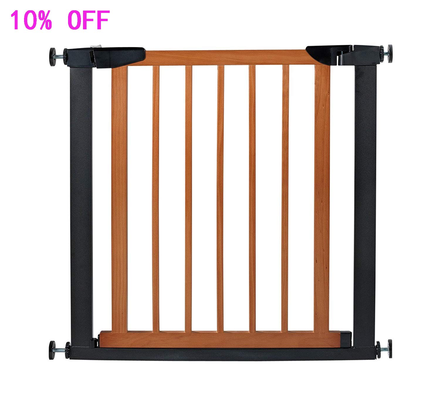Fairy Baby Pet Baby Gate Narrow Extra Wide for Stairs Metal and Wood Pressure Mounted Safety Walk Through Gate,29 High,Fit Spaces Between 29.53 -32.28 ,Coffee Black 3-7 Days Delivered