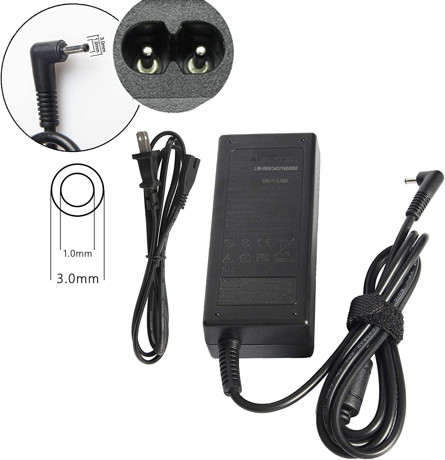 AC Adapter for Acer PA-1650-80 A11-065N1A A13-045N2A Chromebook 13 C810 CB5 14 CB3-431 15 C910 C720 C720P C720-2848,Aspire S5 S7 S5-371 S7-392 S7-393 + Power Cable 19V 3.42A 3.01.0mm