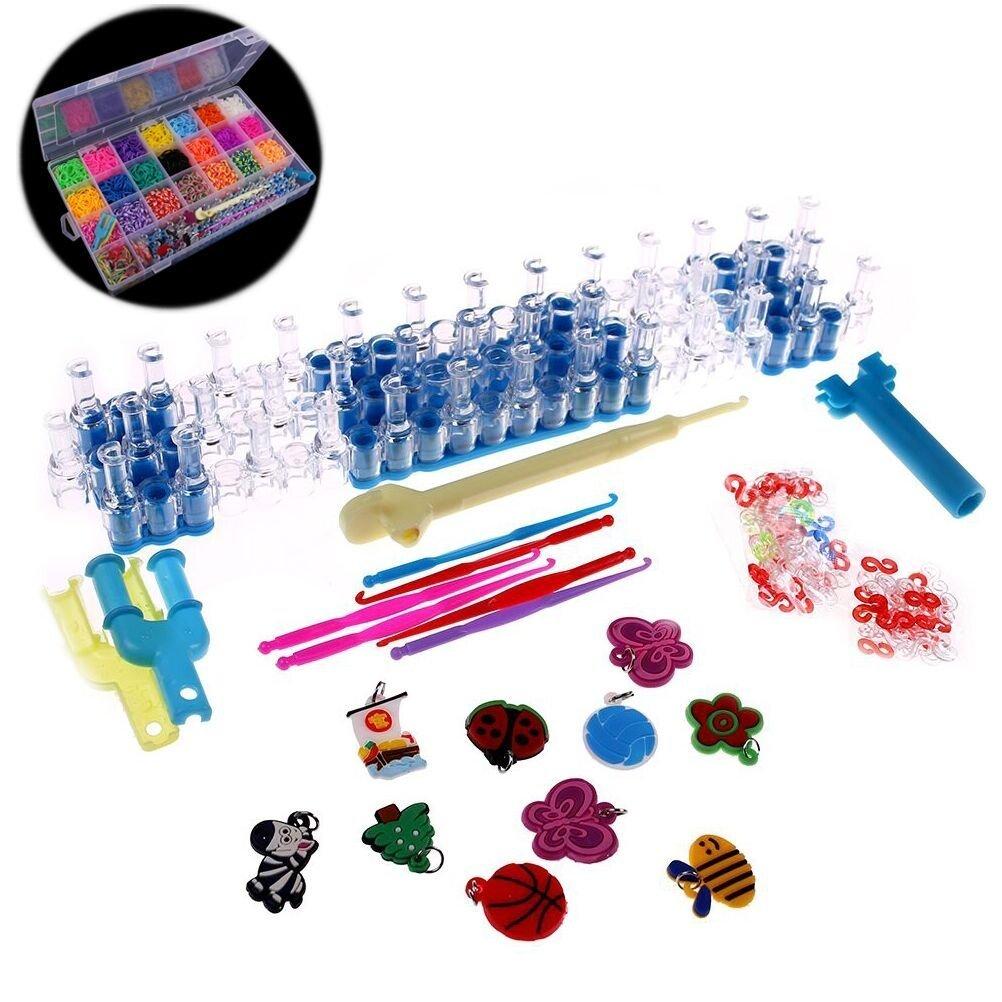 JUNKE 4400 PCS Colorful Rubber Band Bracelet Loom Refill Kit Fun DIY for Kids (Include Storage Case)