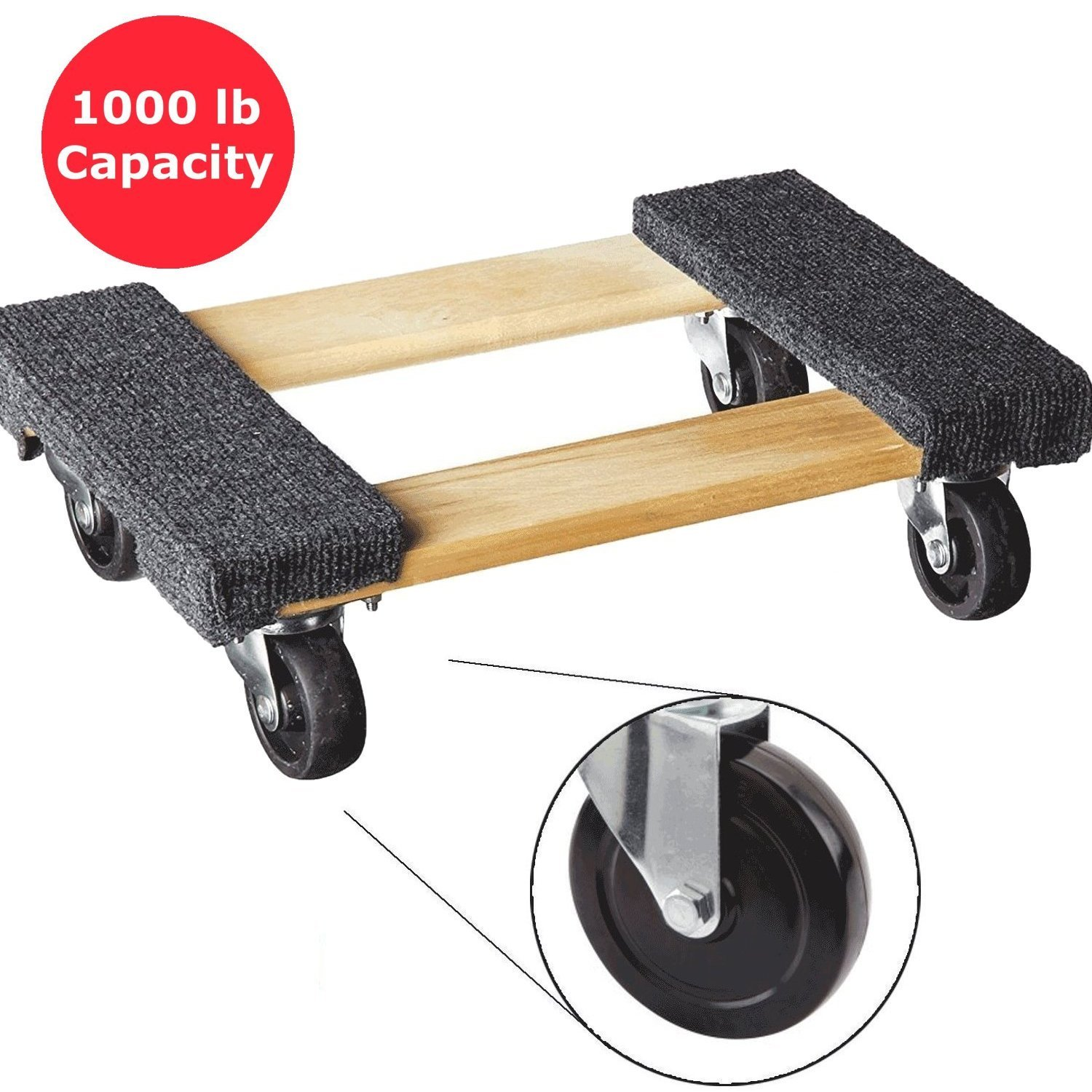 Furniture Dolly Platform With Wheels Moving Dolly Furniture Mover. Piano Dolly Rolling Surface Measures 12'' X 18''. Carpeted Furniture Mover. Heavy Duty Floor Dolley Holds Up To 1000lbs