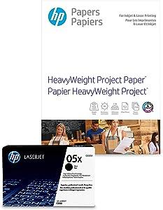 HP 05X Black Toner + HP Heavyweight Project Paper, Matte, Laser, 8.5 x 11, 250 sheets