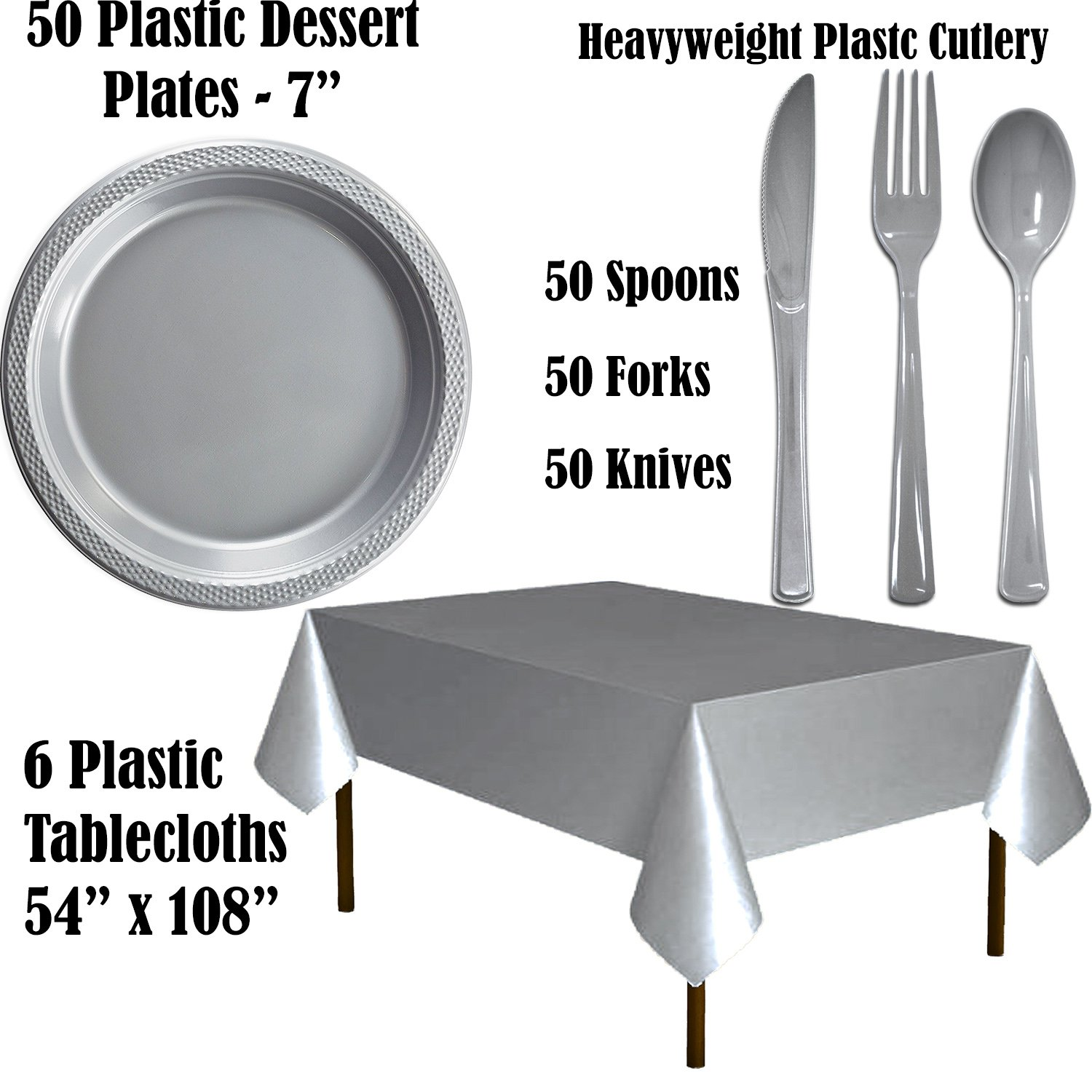 Plastic Party Supplies for 50 Guests - Lavender and Silver - Dinner Plates, Dessert Plates, Cups, Lunch Napkins, Cutlery, and Tablecloths - Premium Quality Tableware Set by HeroFiber (Image #2)