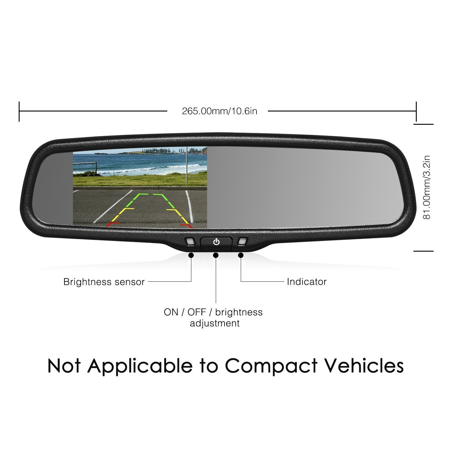 "Amazon.com: AUTO-VOX T2 Backup Camera Kit, 4.3""LCD OEM Rear View Mirror  Monitor with IP 68 Waterproof Back Up Car Camera,Super Night Vision License  Plate ..."