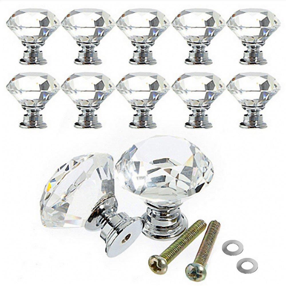 Türgriff-Sets 30 mm 10 Stück Diamant Form Kristall Schrank Knöpfe ...
