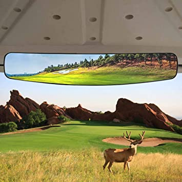 Rear View Mirror,Convex Central Rearview Mirror 180 Degree Wide Angle Panoramic View Fit for E-Z-GO//Club Car