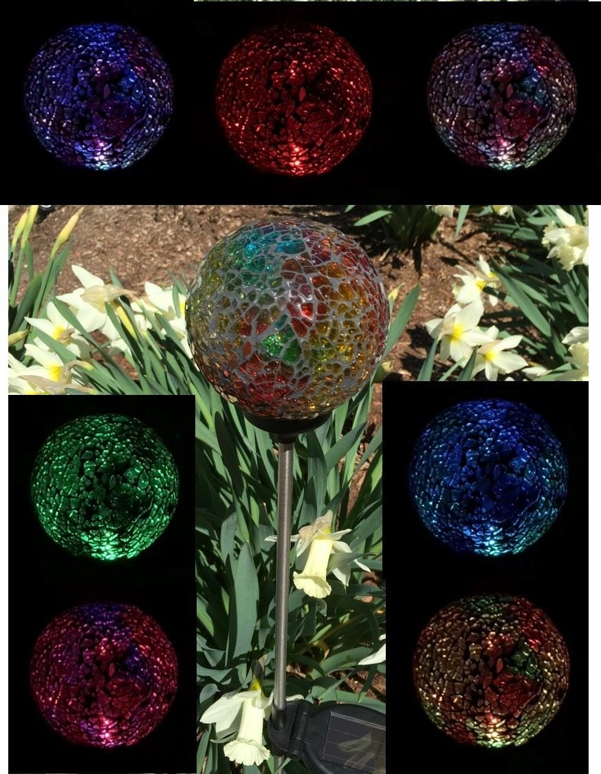 Solar Colorful Ball Light , Solar Power Multi-color Color changing LED Mosaic Crackle Glass Decorative Garden Yard Light Stake