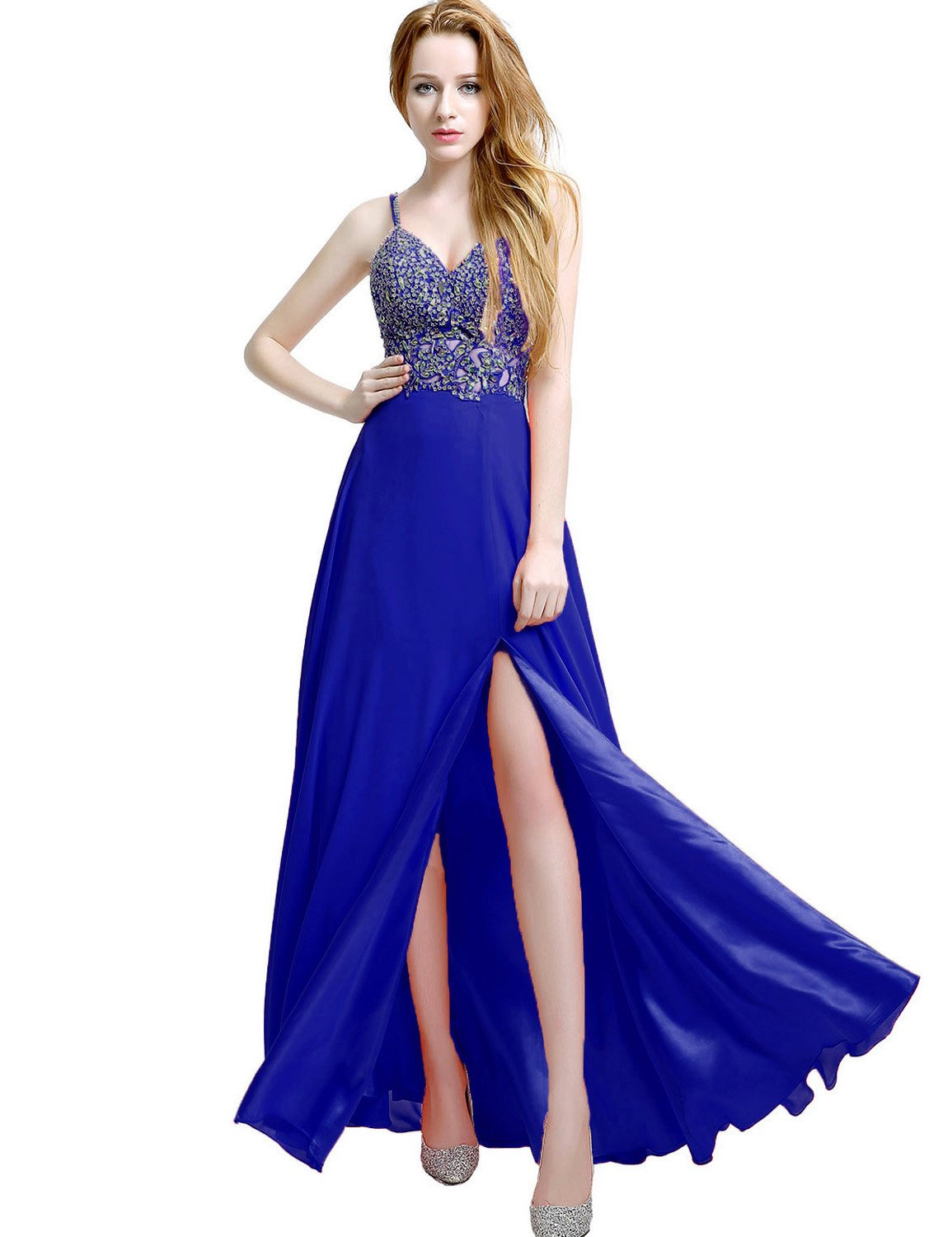 Sarahbridal Womens A Ling Chiffon Prom Dresses Long Beaded Bridesmaid Ball Gowns SD011