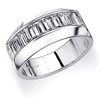 Platinum Men\'s Baguette Diamond Wedding Band (1.0 cttw, F-G Color ...
