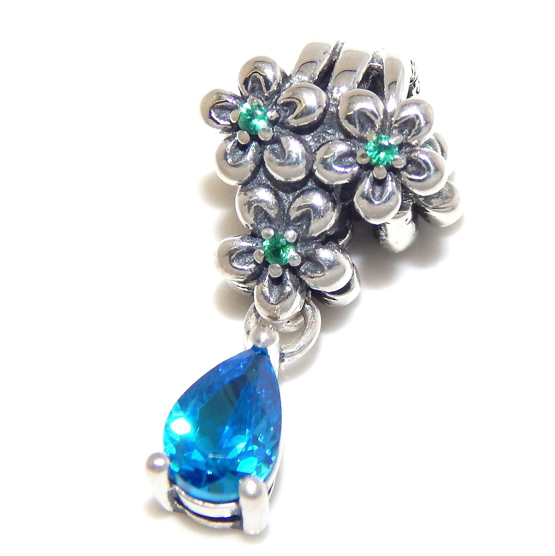 Solid 925 Sterling Silver Green CZ Flowers w// Dangling Blue CZ Charm Bead for European Snake Chain Bracelets