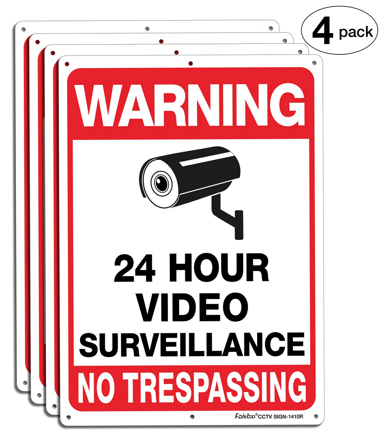 Faittoo 4-Pack Video Surveillance Sign, 14x10 Inches .040 Aluminum No Trespassing Metal Reflective Warning Sign, Indoor or Outdoor Use for Home Business CCTV Security Camera,UV Protected & Waterproof by Faittoo