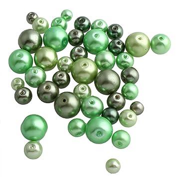 8 mm 40 Glaswachsperlen in dunkelgrün