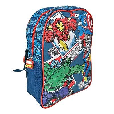 PERLETTI - Mochila Niño Marvel Los Vengadores - Bolso Escolar Avengers Estampado Capitán América, Hulk, Iron Man y Spiderman - Bolsa Infantil para la Escuela Guarderia Viaje - 31x24x10 cm: Equipaje